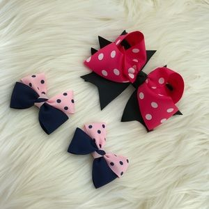 Head bow polka dots Grosgrain w/ alligator clips